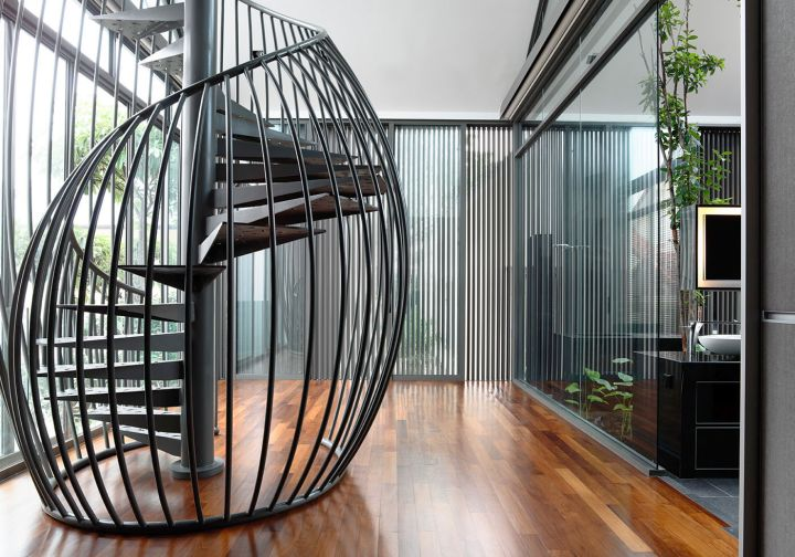 detached modern house spiral staircase