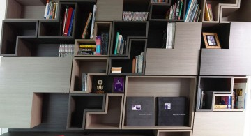 detached modern house unique bookshelf