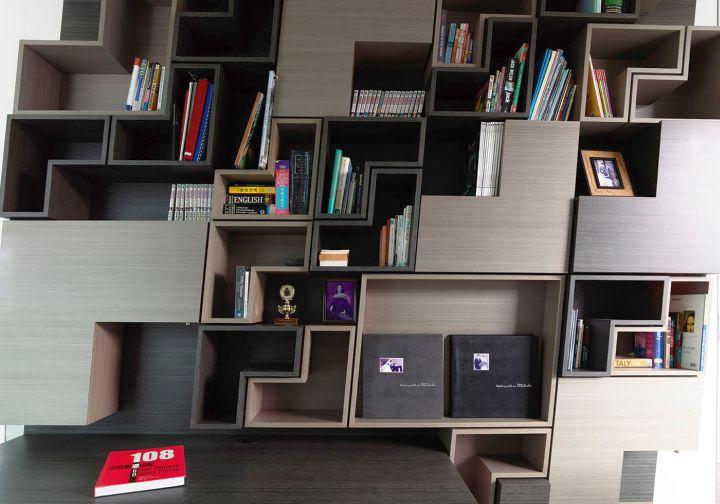 detached modern house unique bookshelf