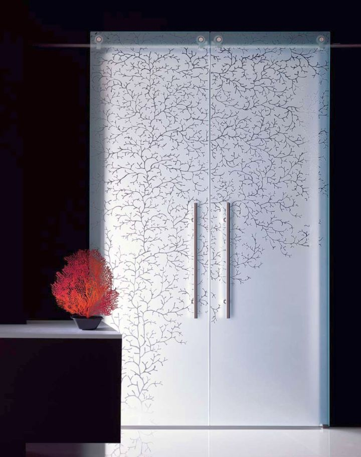 double door opaque modern glass door