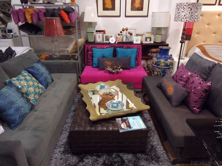 eclectic rooms with dark sofa
