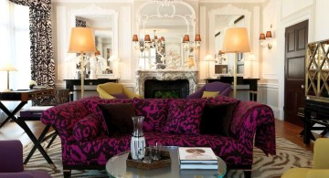 eclectic rooms with purple sofa