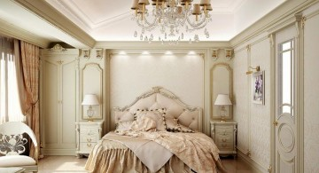 elegant vintage bedroom decoration ideas with large chandelier
