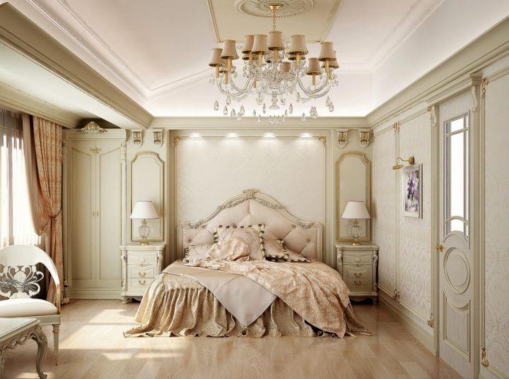 elegant vintage bedroom decoration ideas with large chandelier