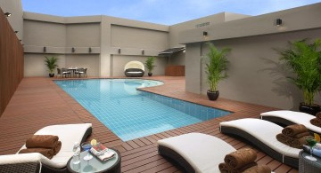 enclosed wood pool deck