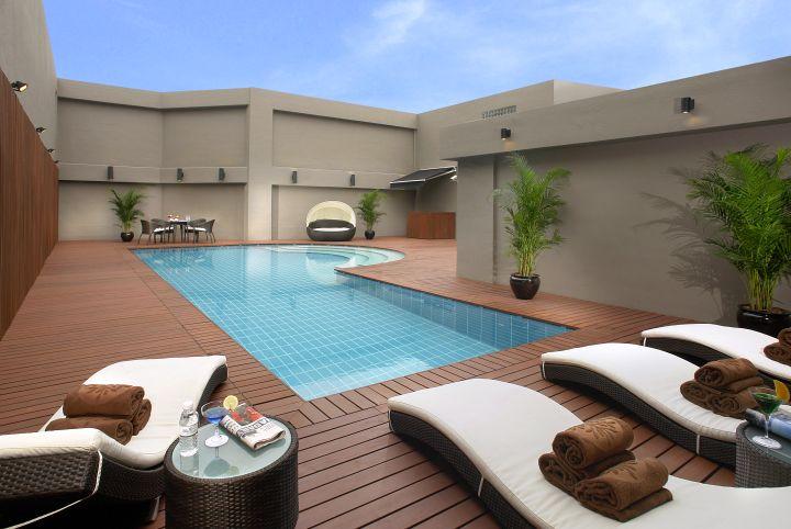 enclosed wood pool deck