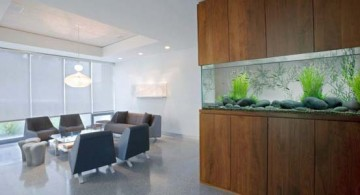featured image of contemporary fish tank wide and built in the wooden wall panel