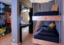 featured image of funky bedroom ideas with hanging bunk beds and cool posters