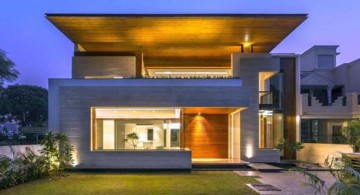 featured image of indian modern house front view at night