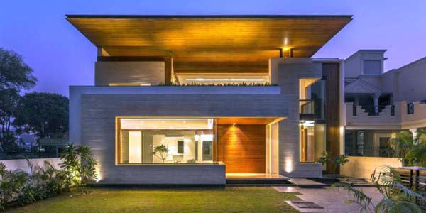 Fascinating modern house by charged voids punjab india for Modern house front view