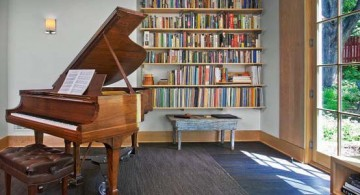 featured image of minimalist home music room design idea with CD library and piano