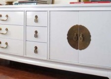 featured image of white lacquer credenza with chinese coin accent