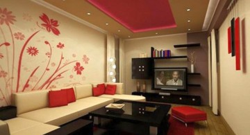 flower mural red wall accent