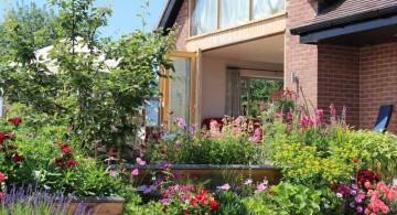 front yard terraced flower garden