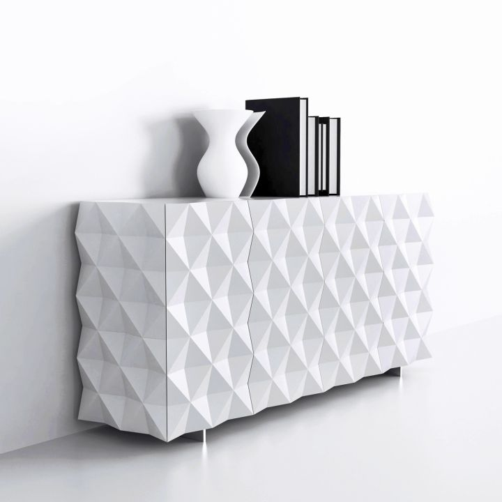 full textured white lacquer credenza