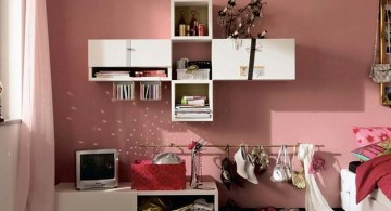 funky bedroom ideas with home made book shelf