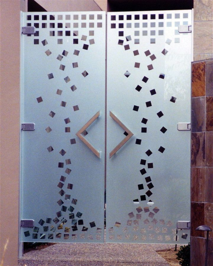 geometrical pattern modern glass door