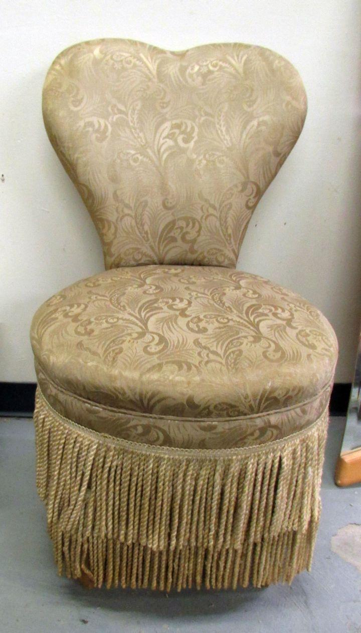 heart shaped skirted vanity stool