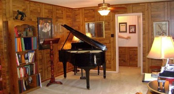home music room with grand piano