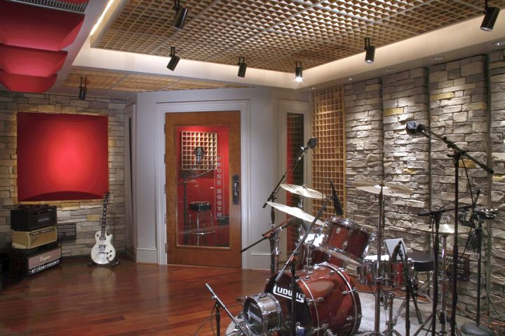home music room with stone walls