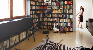 home music room with zebra rug and CD collection