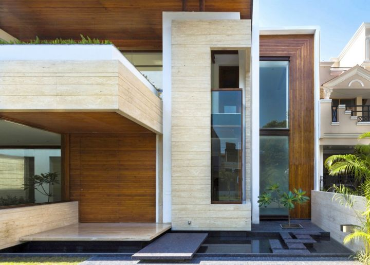 indian modern house entrance close up