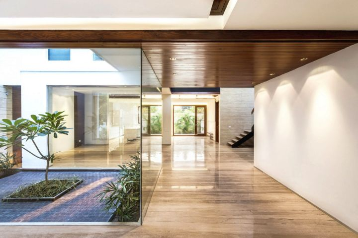 indian modern house glass door garden