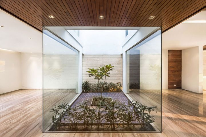 Indian modern house interior garden Indian modern house
