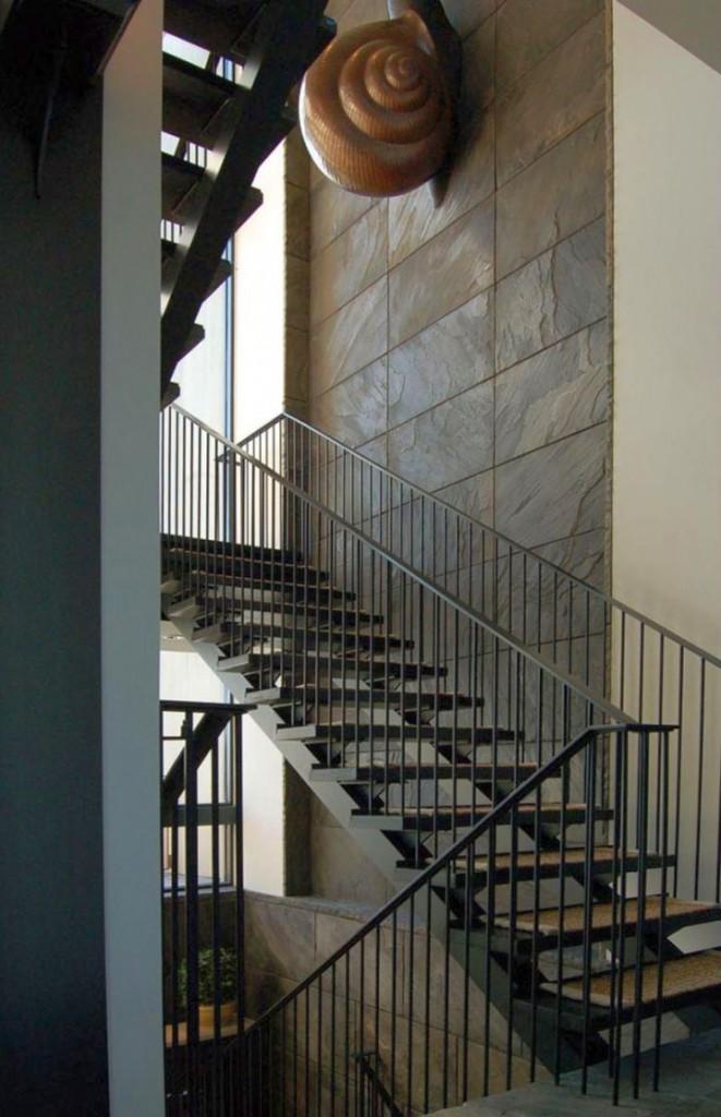 kiawah island house industrial staircase
