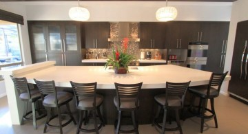 kitchen island with seating for six half moon shaped