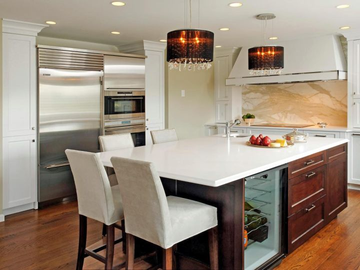 kitchen island with seating for six in white