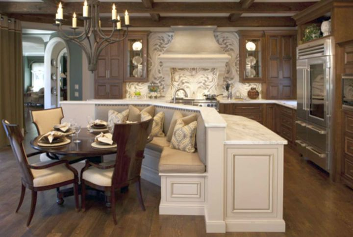kitchen island with seating for six with L shaped sofa in white