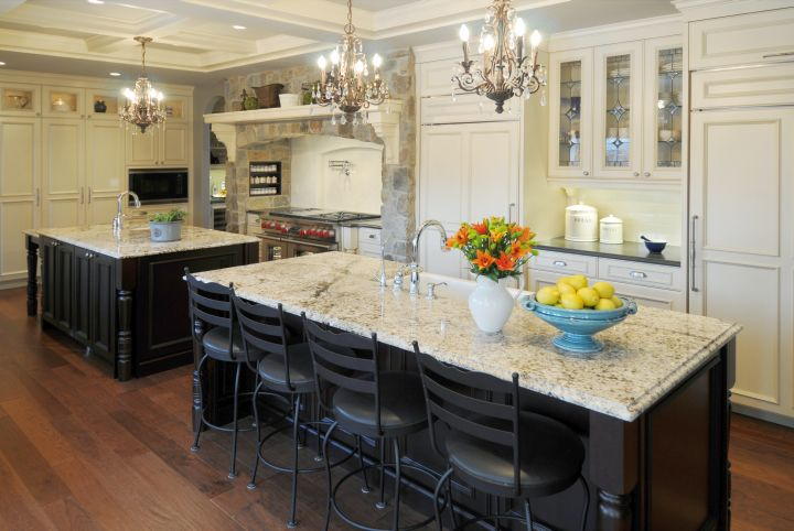 kitchen island with seating for six with classic hanging lamps