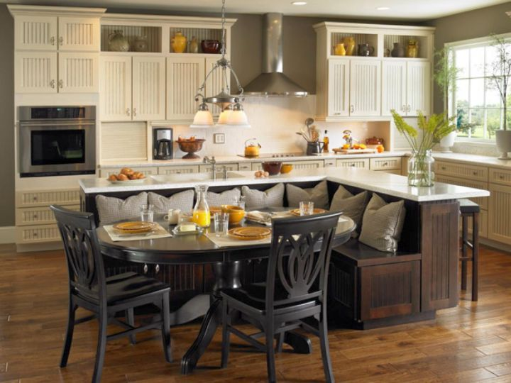 kitchen island with seating for six with dark woods
