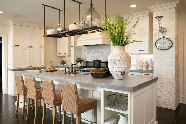 kitchen island with seating for six with rattan chair