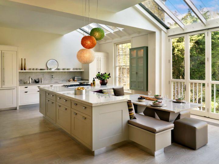 kitchen island with seating for six with skylight