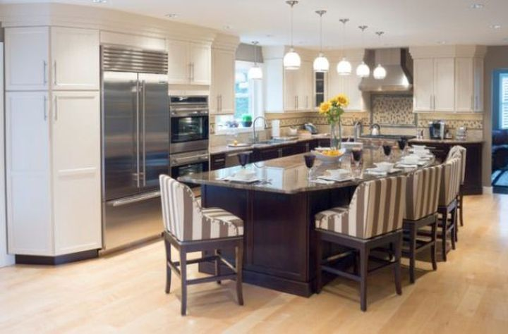 kitchen island with seating for six with striped upholstery
