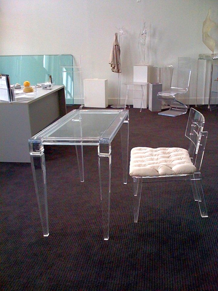 lucite clear office desk