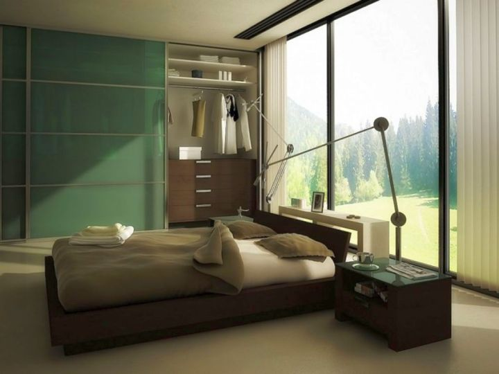 manly bedrooms with window as bed panel