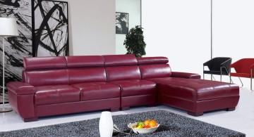 maroon living room with L shaped sofa