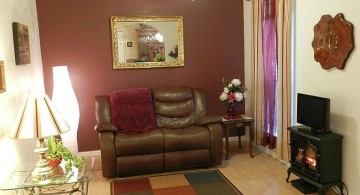 maroon living room with checkered rug