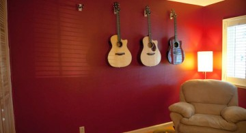 maroon living room with guitar
