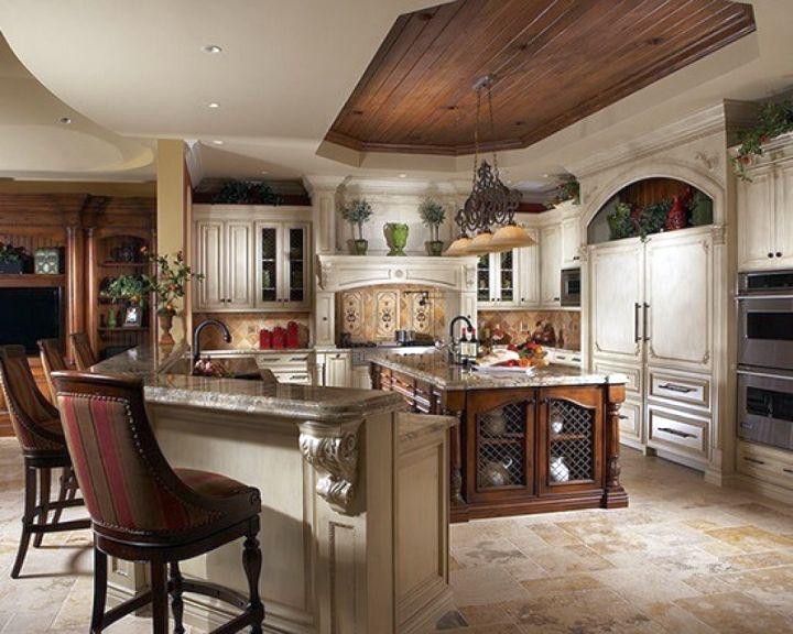 mediterranean kitchen designs with l shaped bar - Mediterranean Kitchen