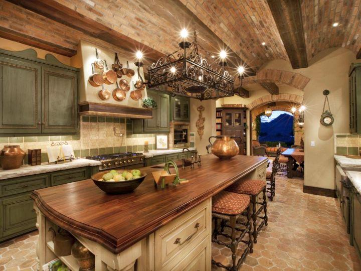 mediterranean kitchen designs with low ceiling