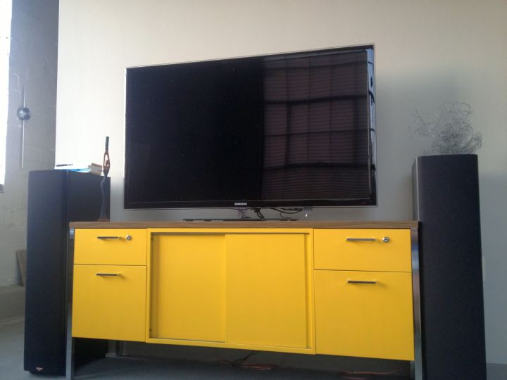 metal credenza bright yellow