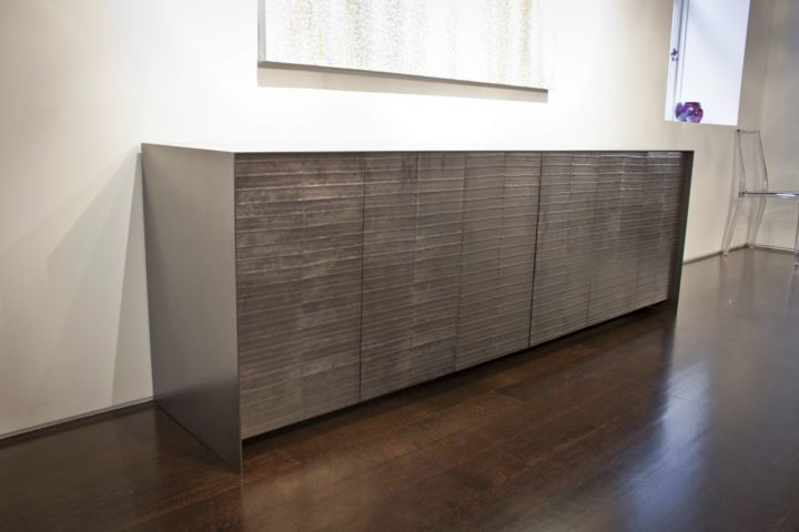 metal credenza with eel skin pattern