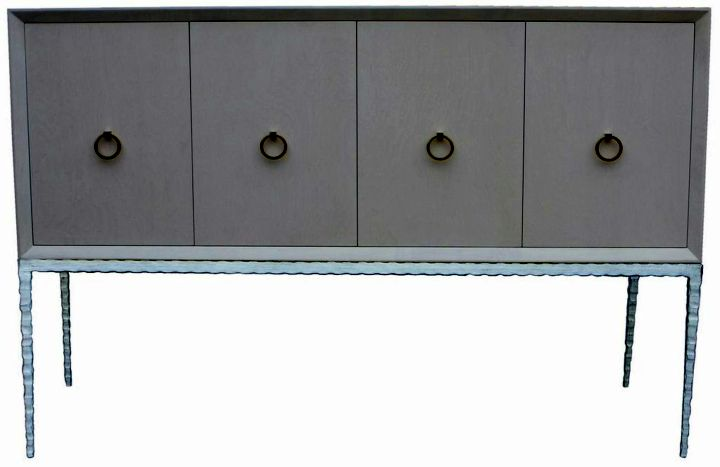 metal credenza with four swing doors