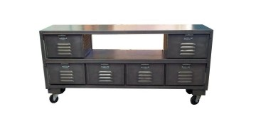 metal credenza with hollow panel