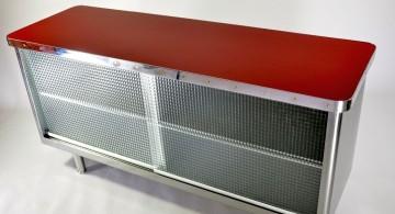 metal credenza with mesh doors