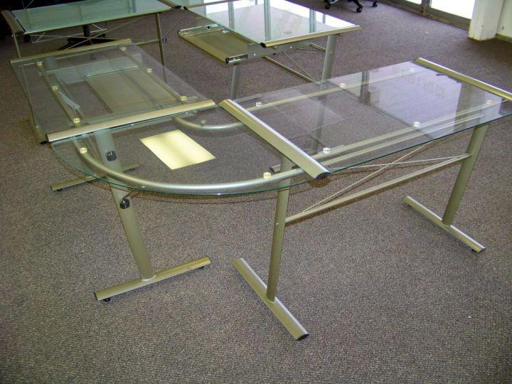 minimalist l shaped clear office desk
